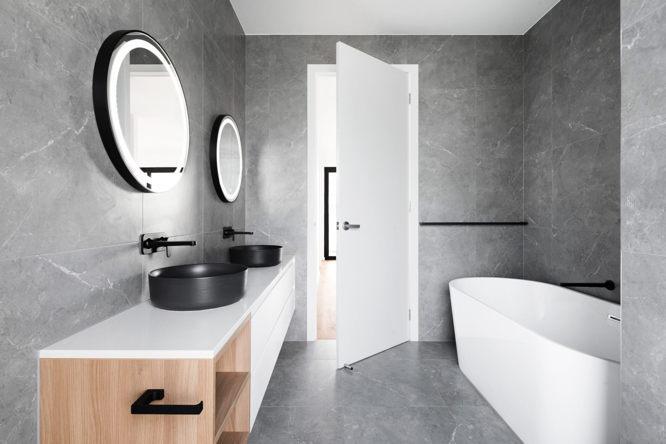 Contemporary Grey White Black Wood Bathroom