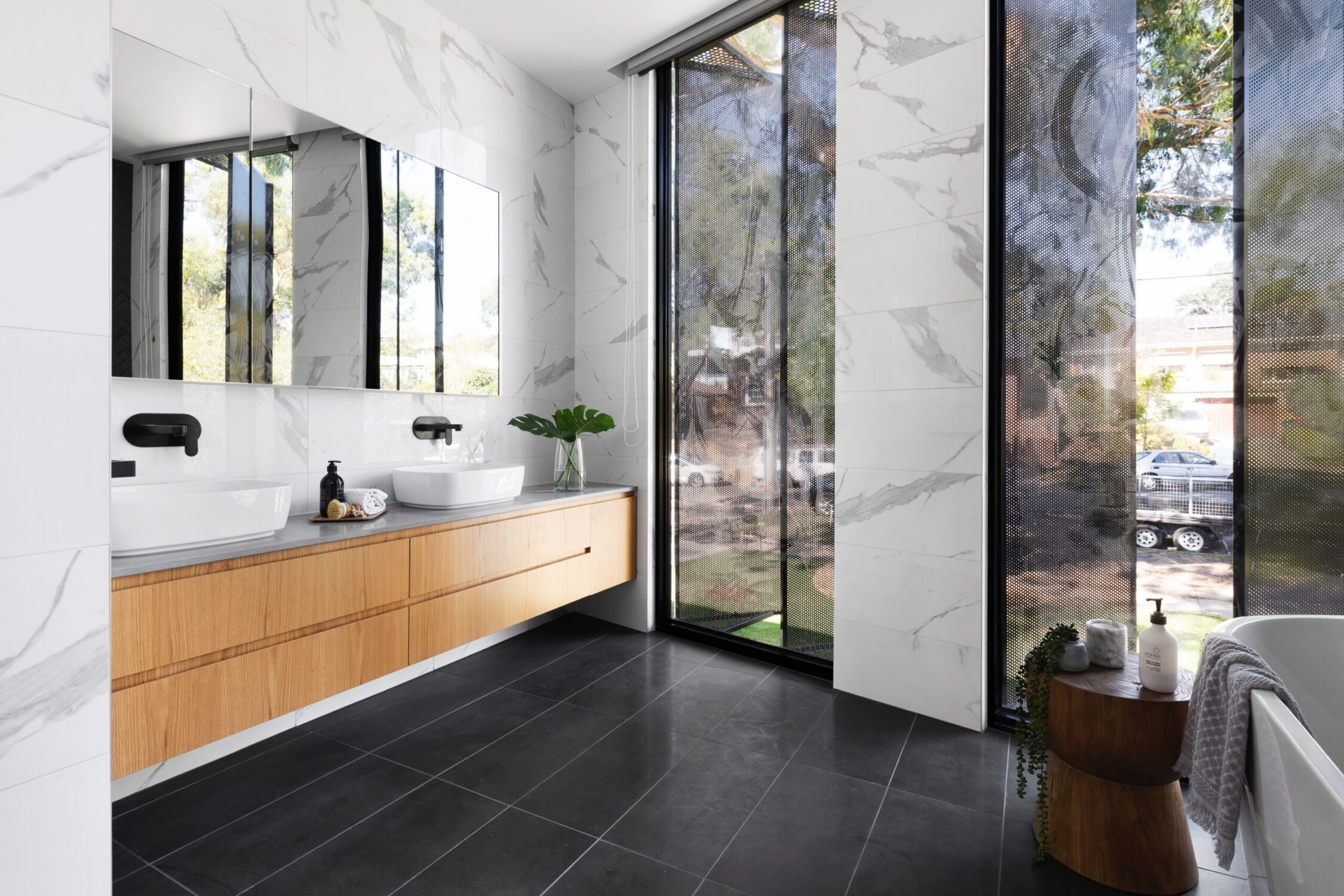 Contemporary Black White Bathroom