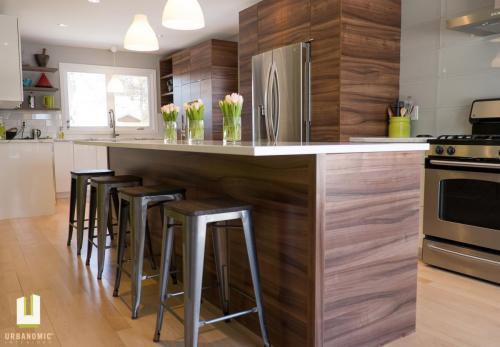 Courtice Ave - White + Walnut Modern Kitchen Design - Urbanomic Interiors 04
