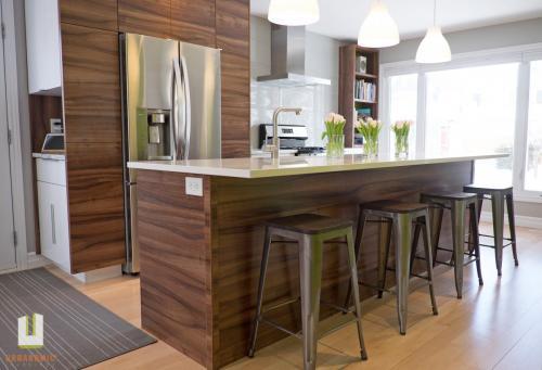 Courtice Ave - White + Walnut Modern Kitchen Design - Urbanomic Interiors 11