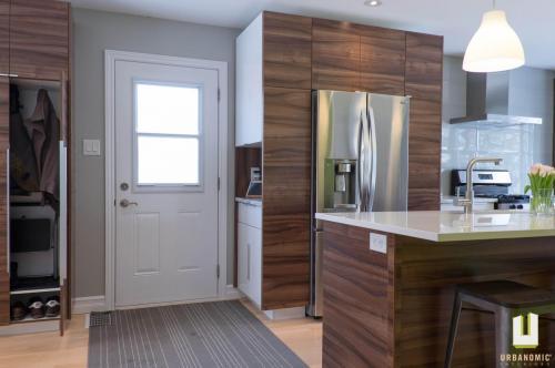 Courtice Ave - White + Walnut Modern Kitchen Design - Urbanomic Interiors 12