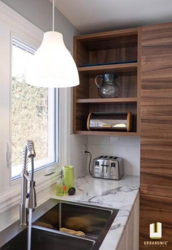 Courtice Ave - White + Walnut Modern Kitchen Design - Urbanomic Interiors 17