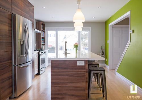 Courtice Ave - White + Walnut Modern Kitchen Design - Urbanomic Interiors 23